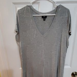Gray V-neck T-shirt